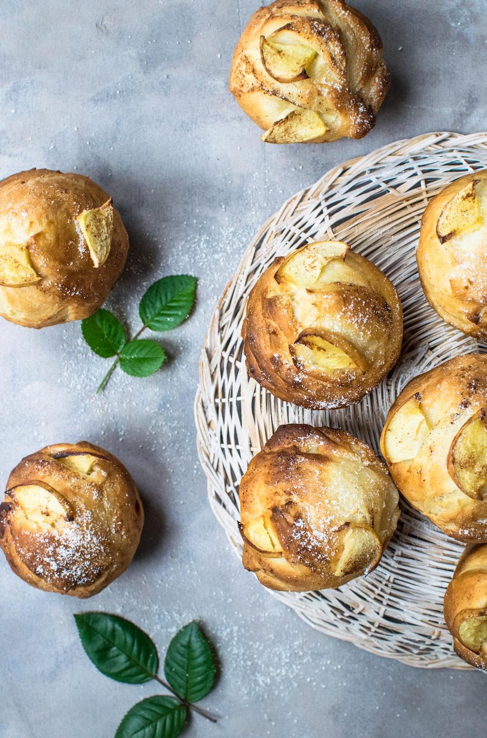 brown pastry on brown wicker basket