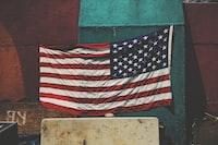 U.S. America flag on green board