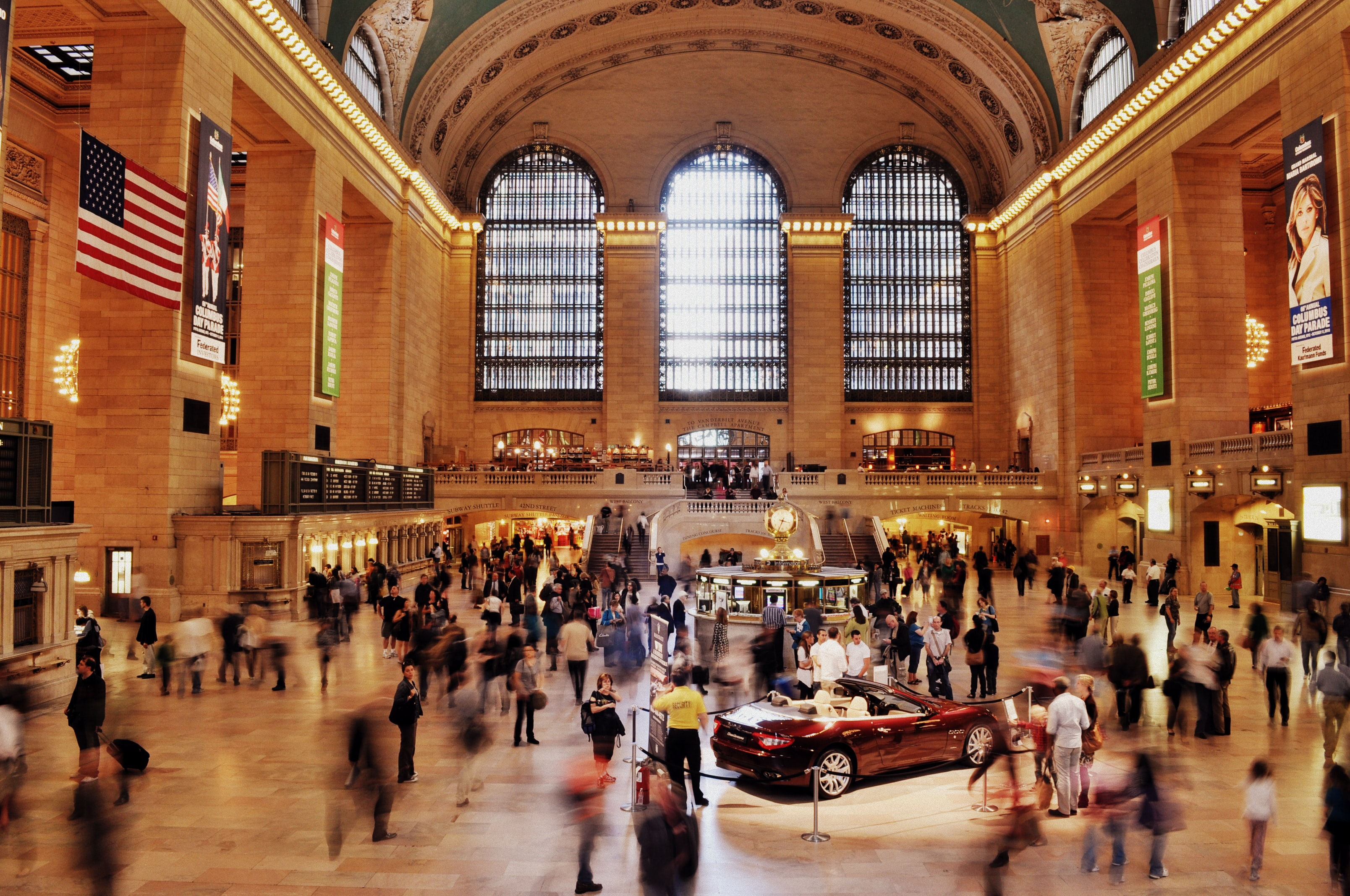 A long-exposure shot of the crowded Grand Central Station