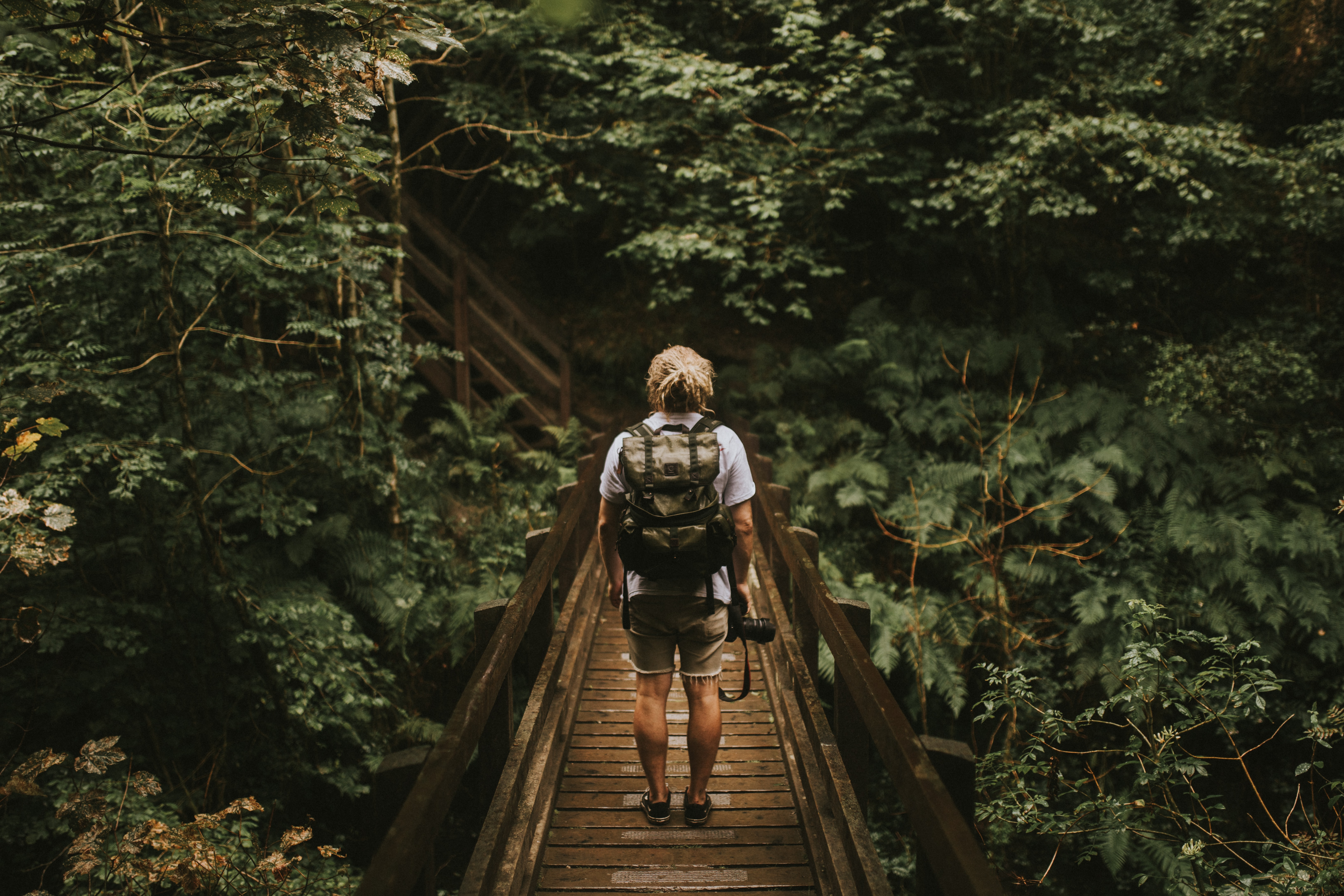 A man with a backpack and a camera on a boardwalk in a forest