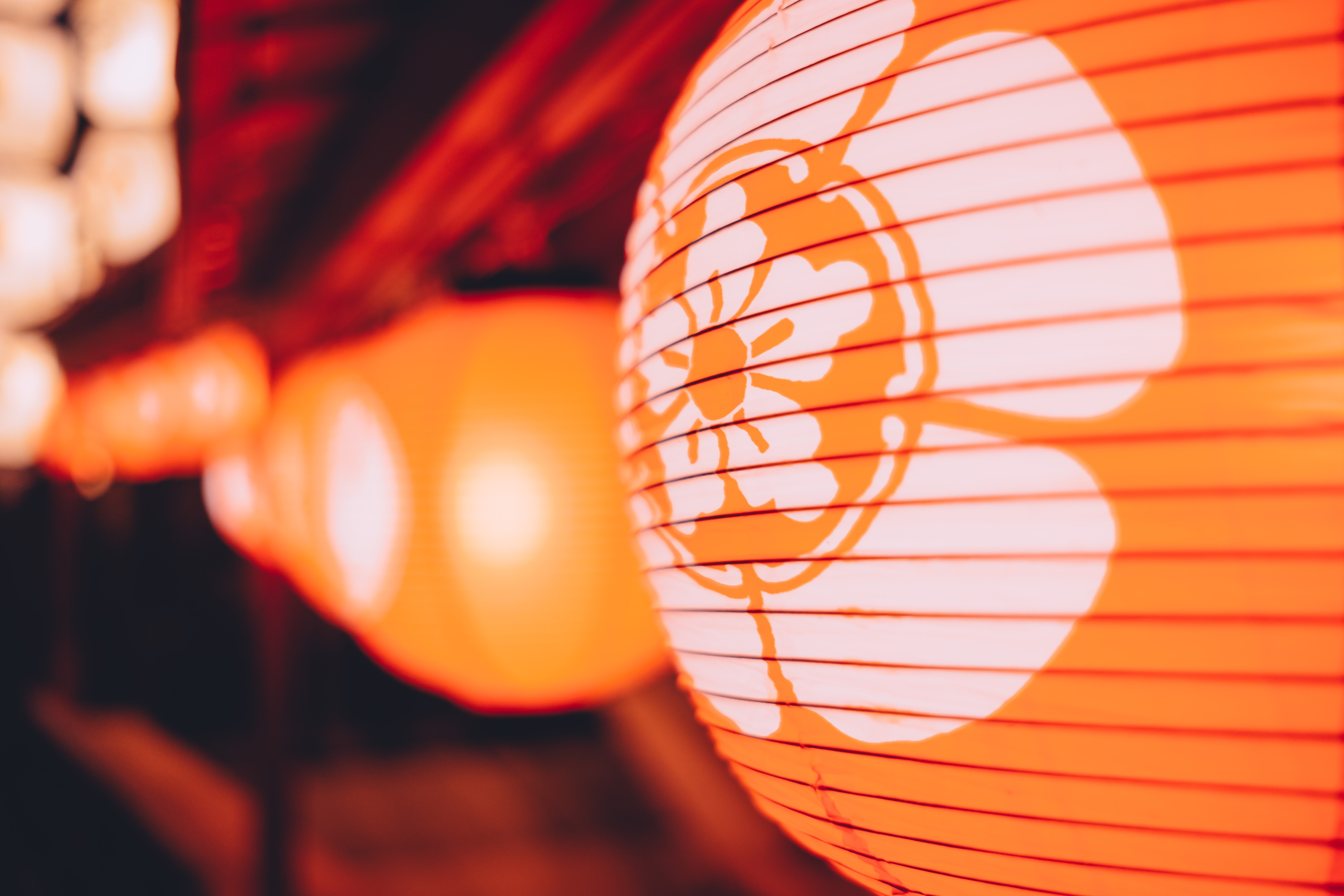 Macro of decorative glowing orange paper lantern with floral design in Kyoto