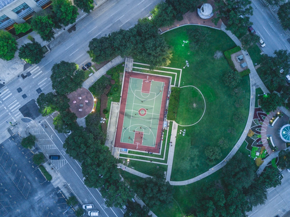 green and red basketball court