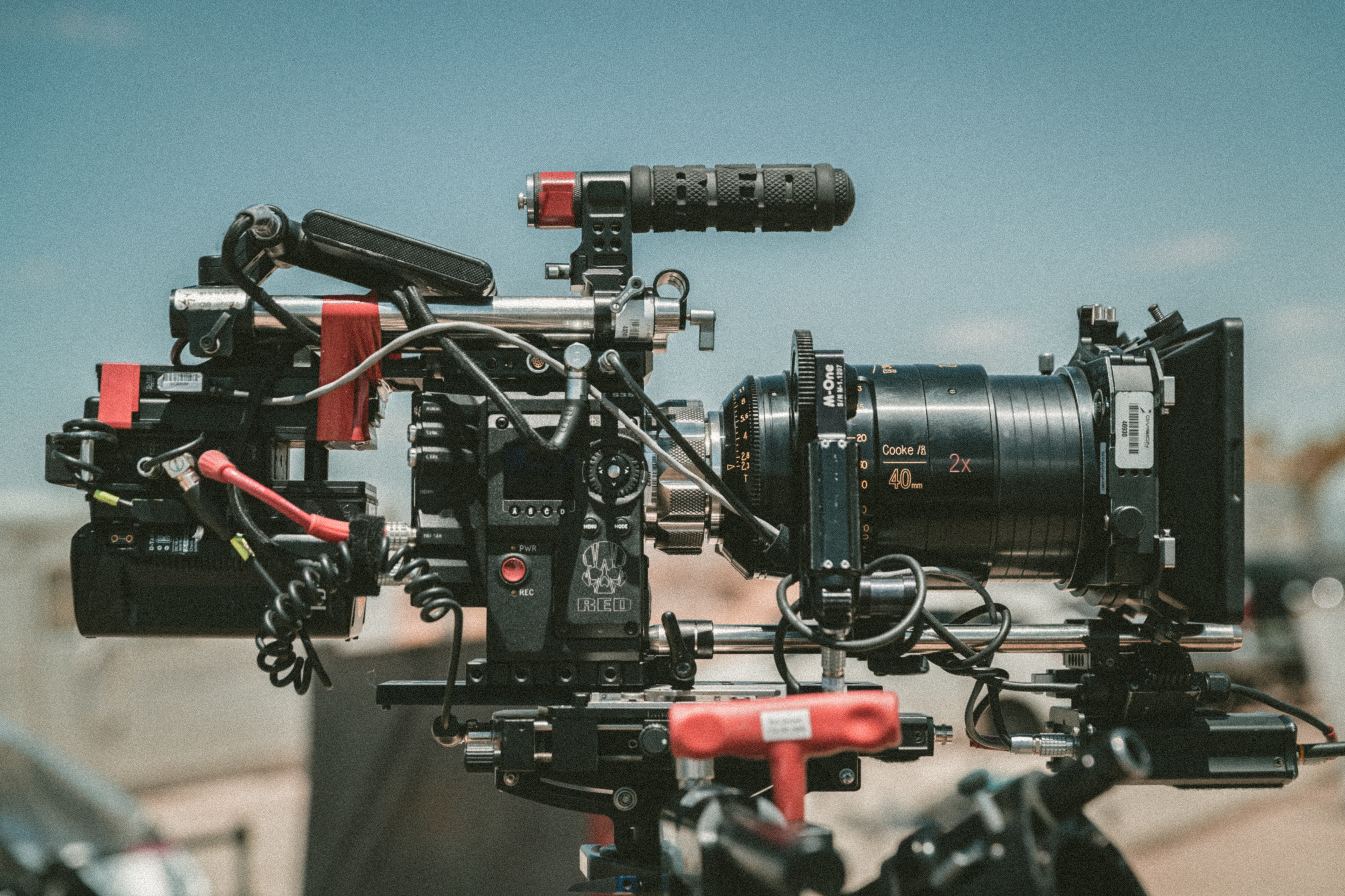 black and red movie camera