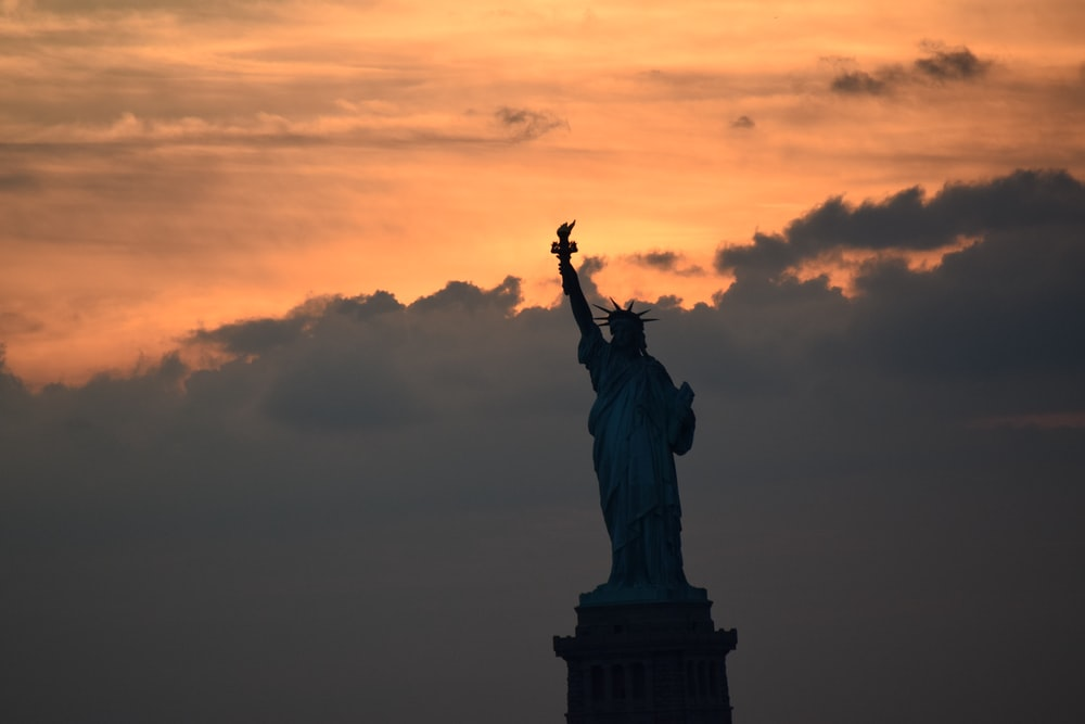 silhouette photography of Statue of Liberty, USA