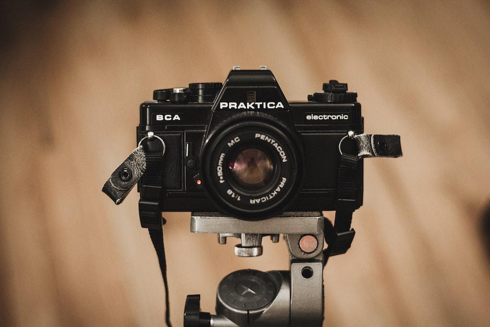 selective focus photography of black Praktica BCA camera