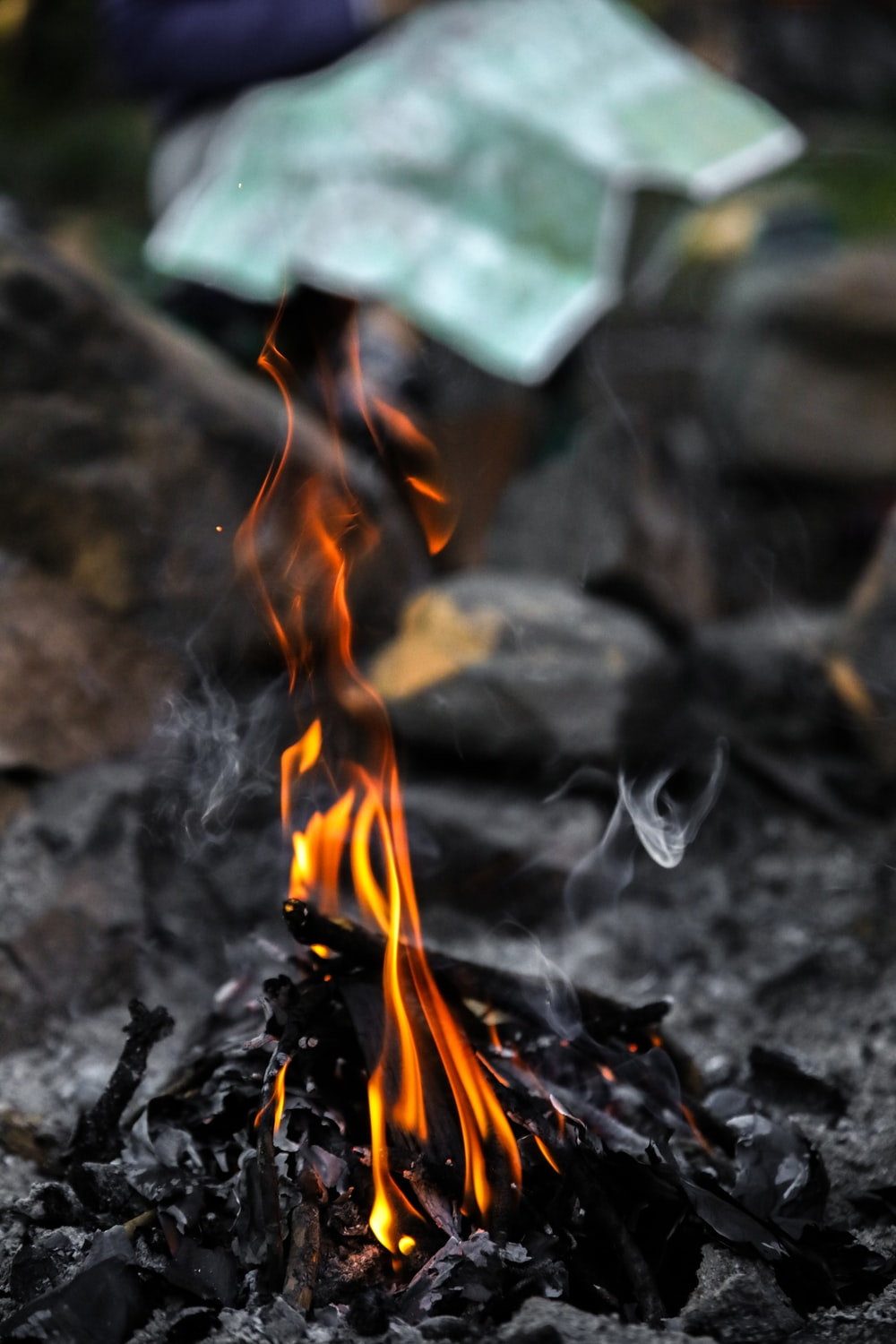 selective focus photo of bonfire
