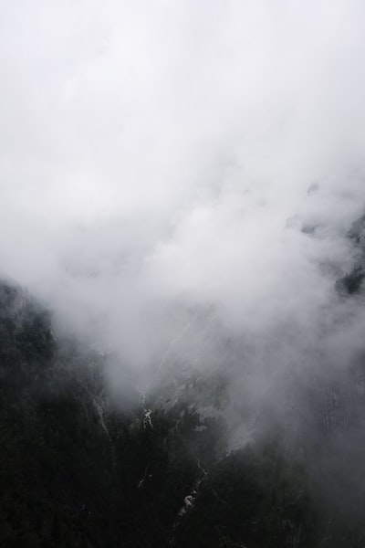 We took this photo of a deep valley in the clouds when hiking in the German mountains.
