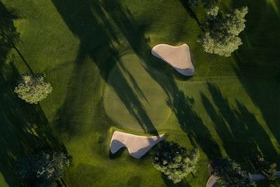 bird's eye photo of grass field golf teams background
