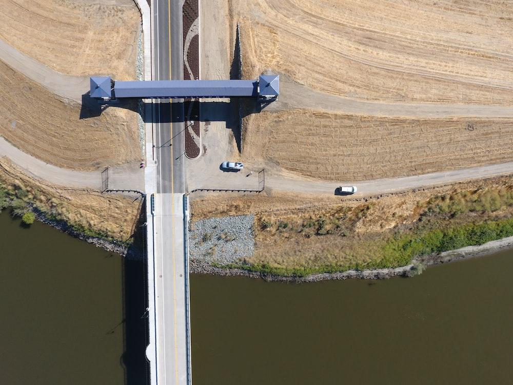 bird's-eye view photography of concrete bridge