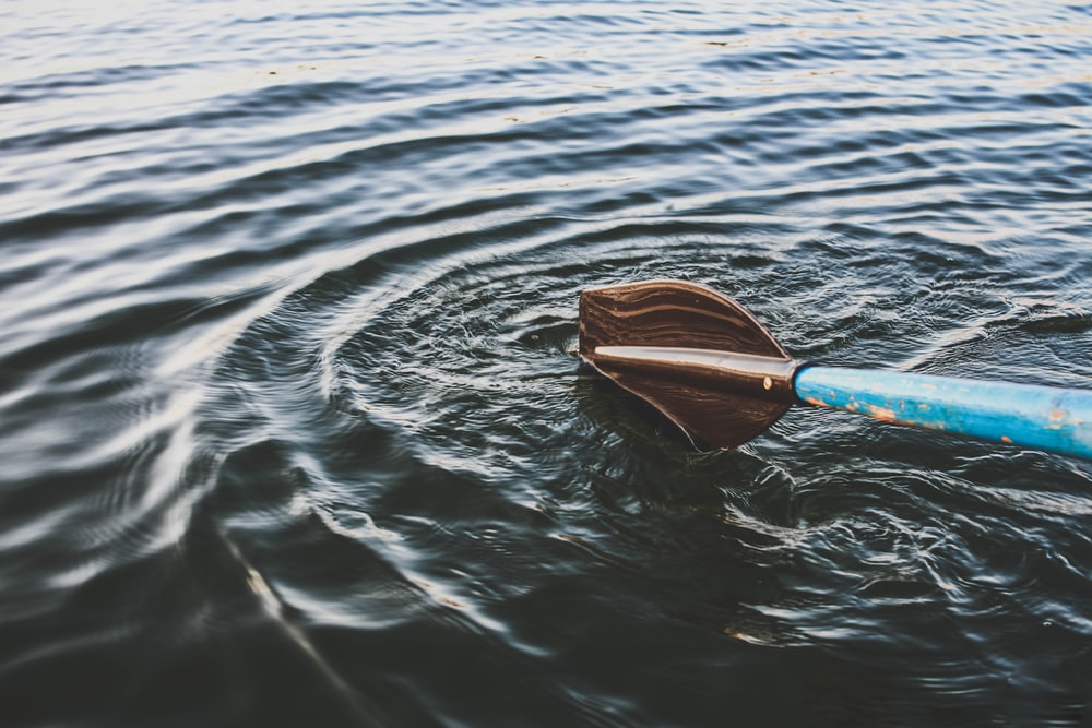 focus photography of blue and brown boat paddle surrounded by body of water