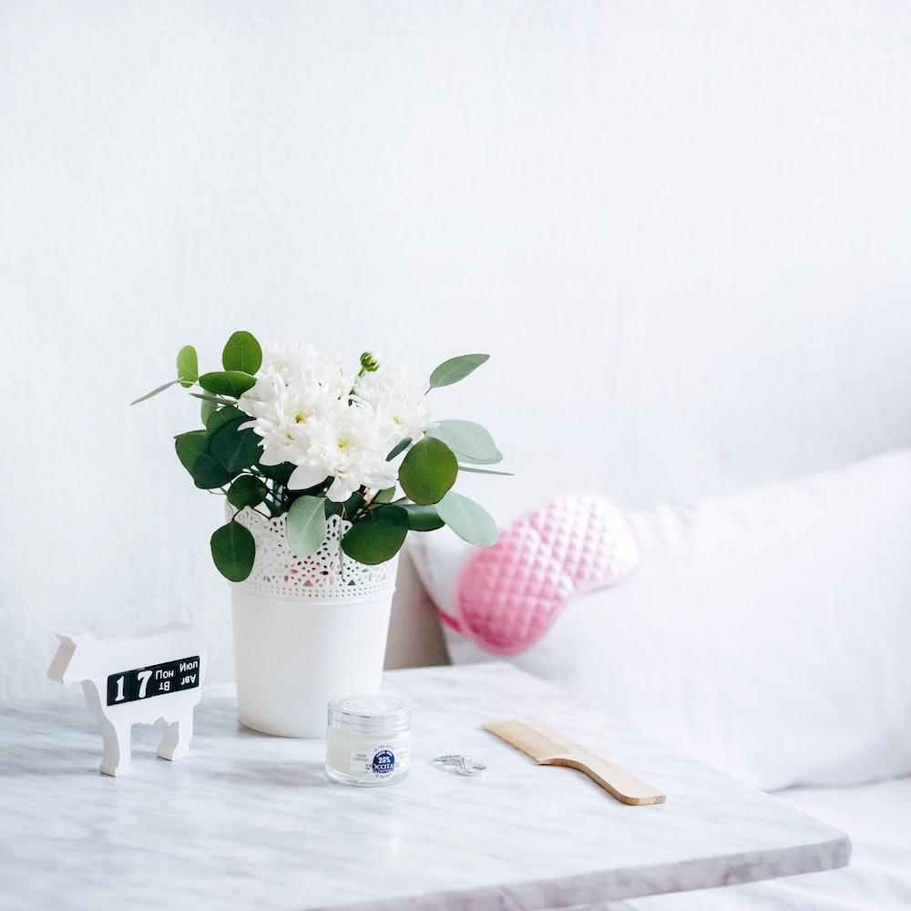 white petaled flowers in vase