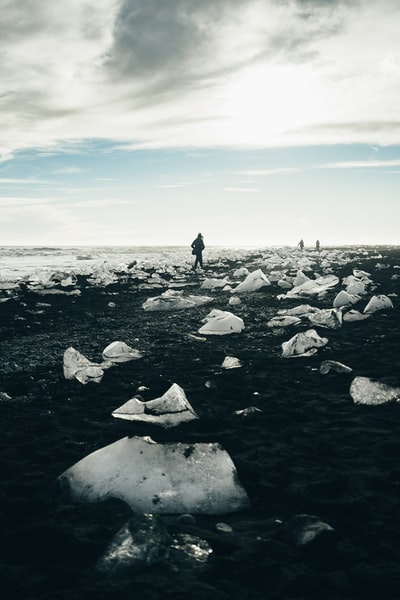 People at icy beach
