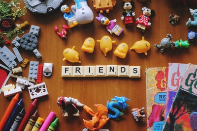 assorted-color toy lot friend teams background