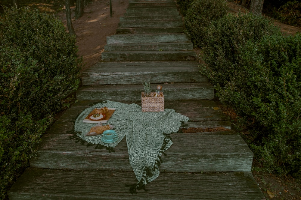 blanket on stairs