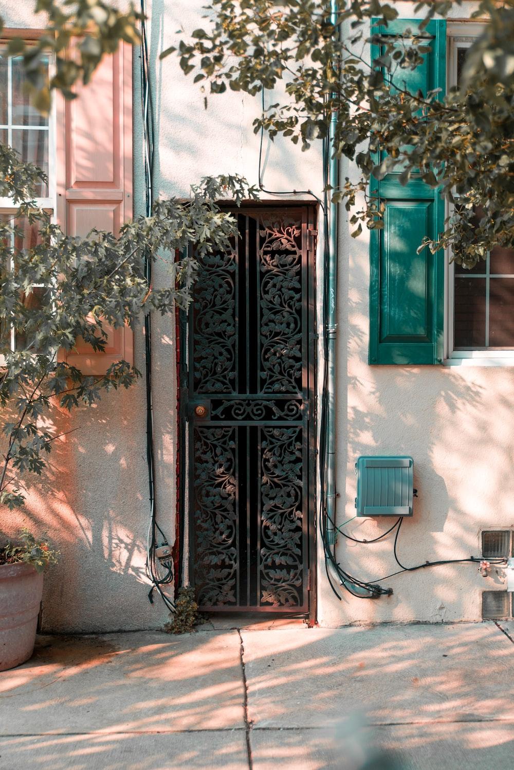 close green wrought iron security door