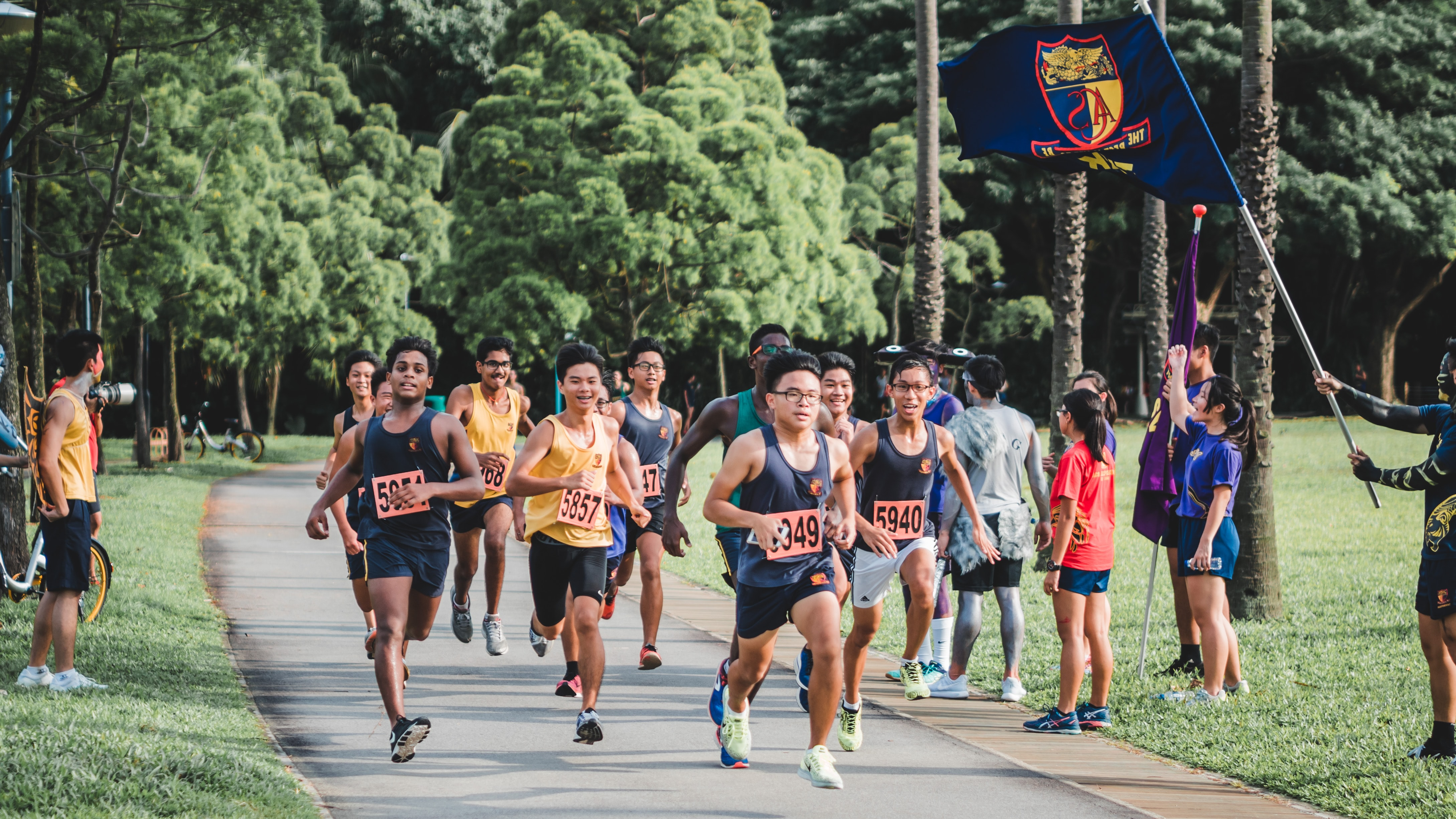 A group in Singapore running a cross country race