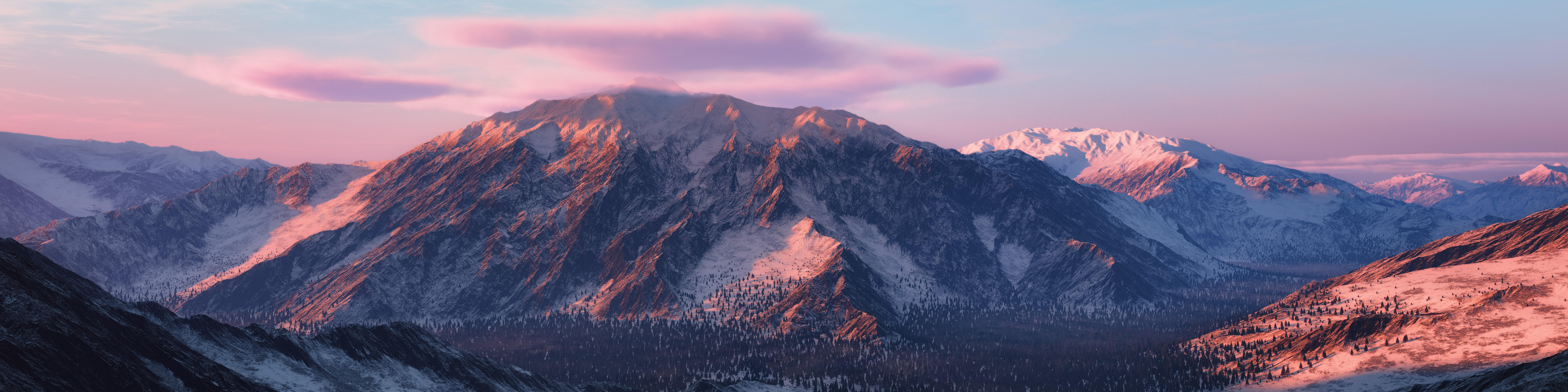 Panoramic view of a colorful pink and purple mountain landscape