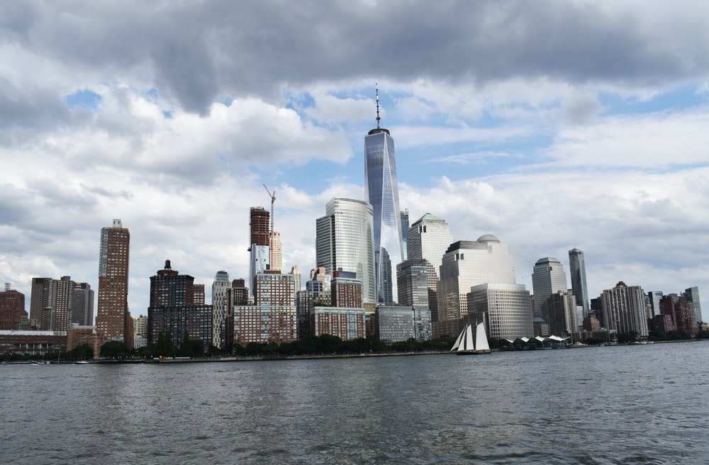 New York City view under gray clouds