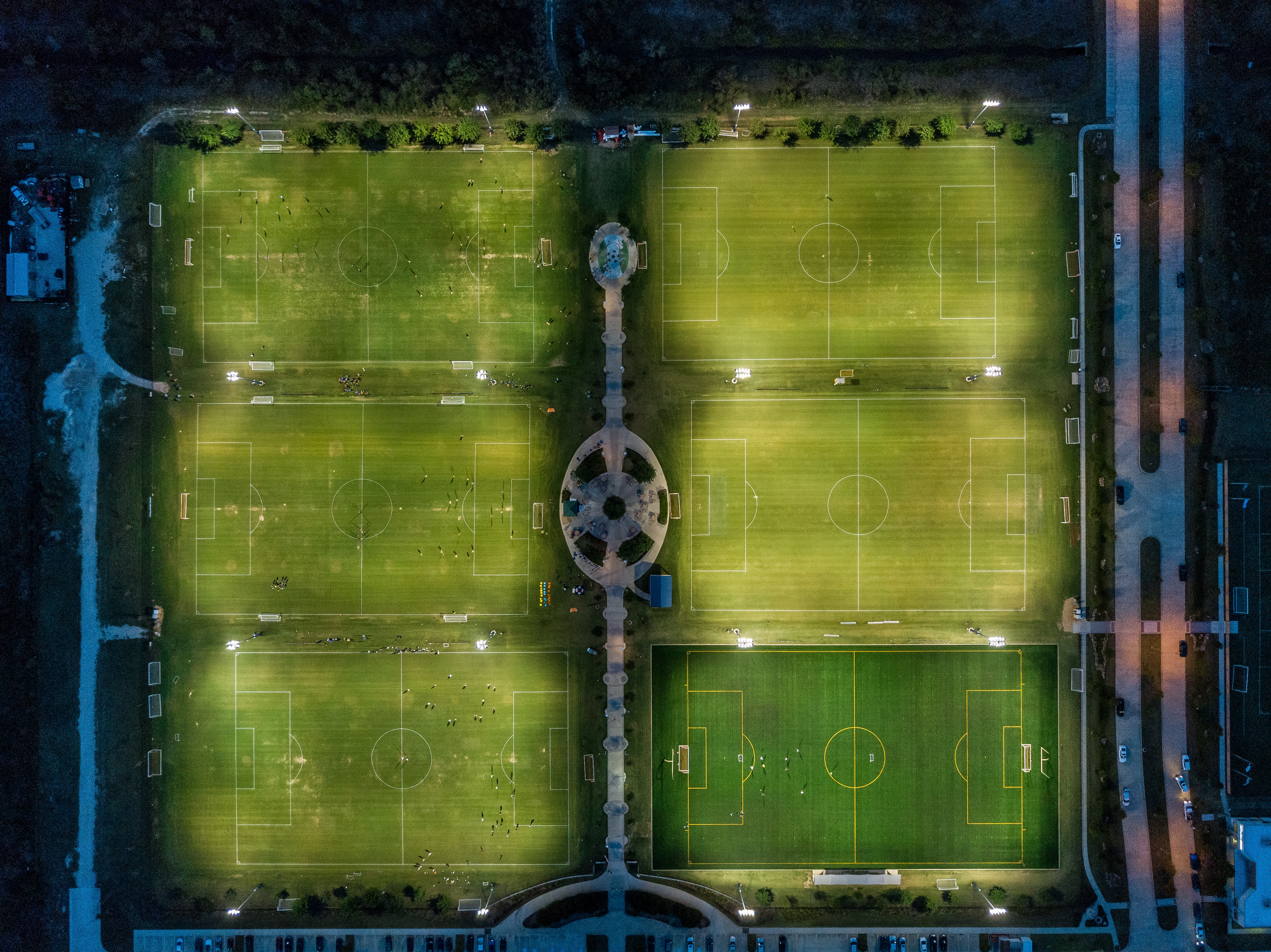 aerial photography of soccer field