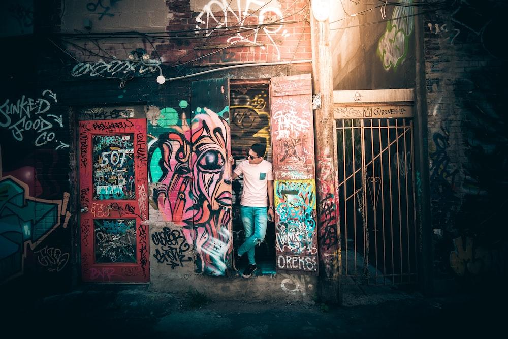 man standing by door