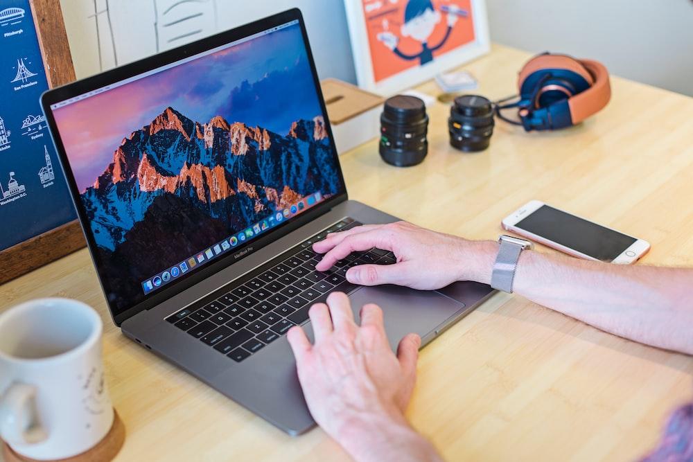 MacBook laptop on home office desk