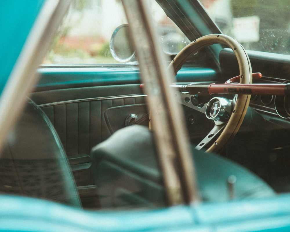 empty car with steering wheel being locked