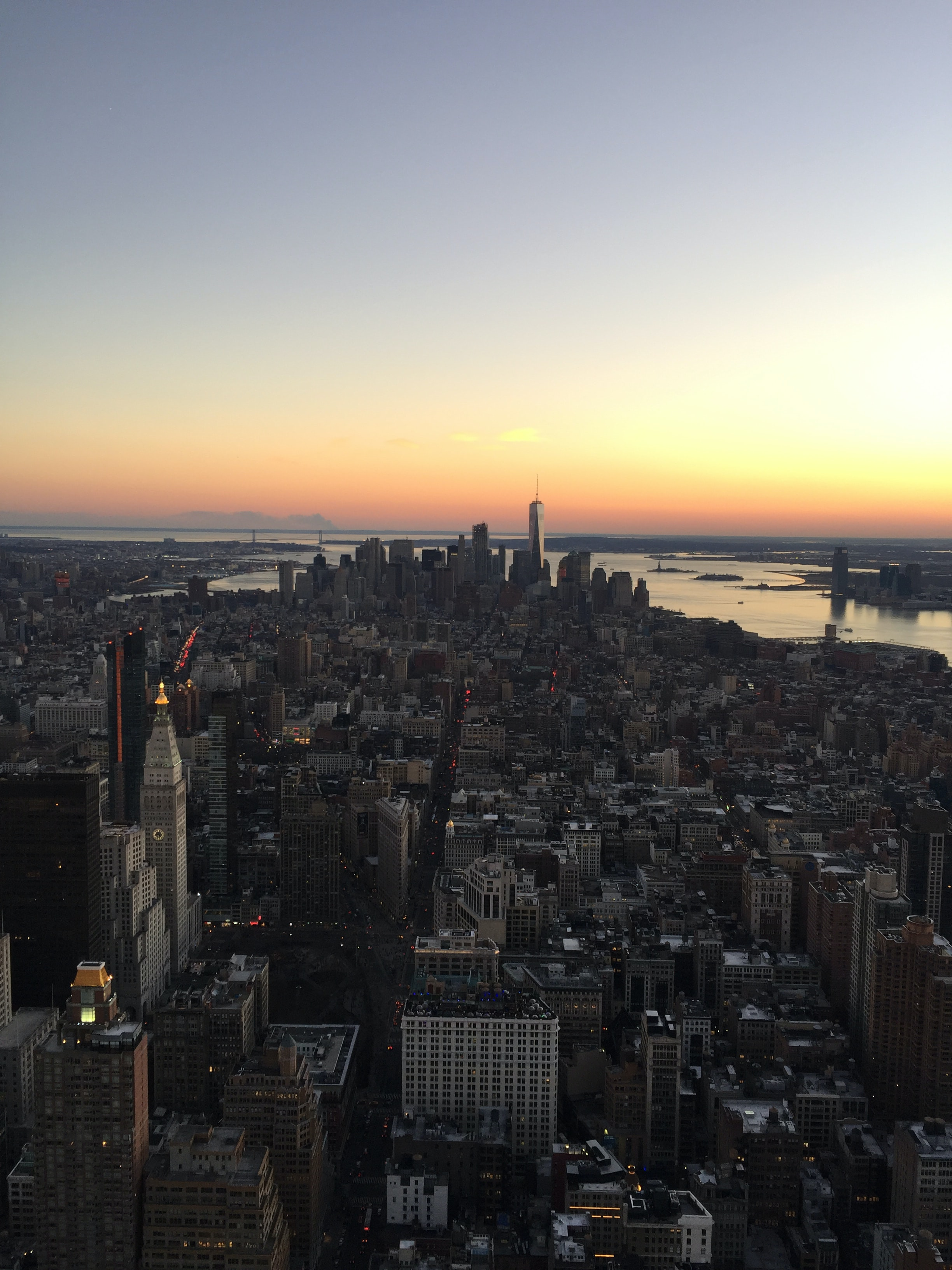 Cityscape of New York during sunset