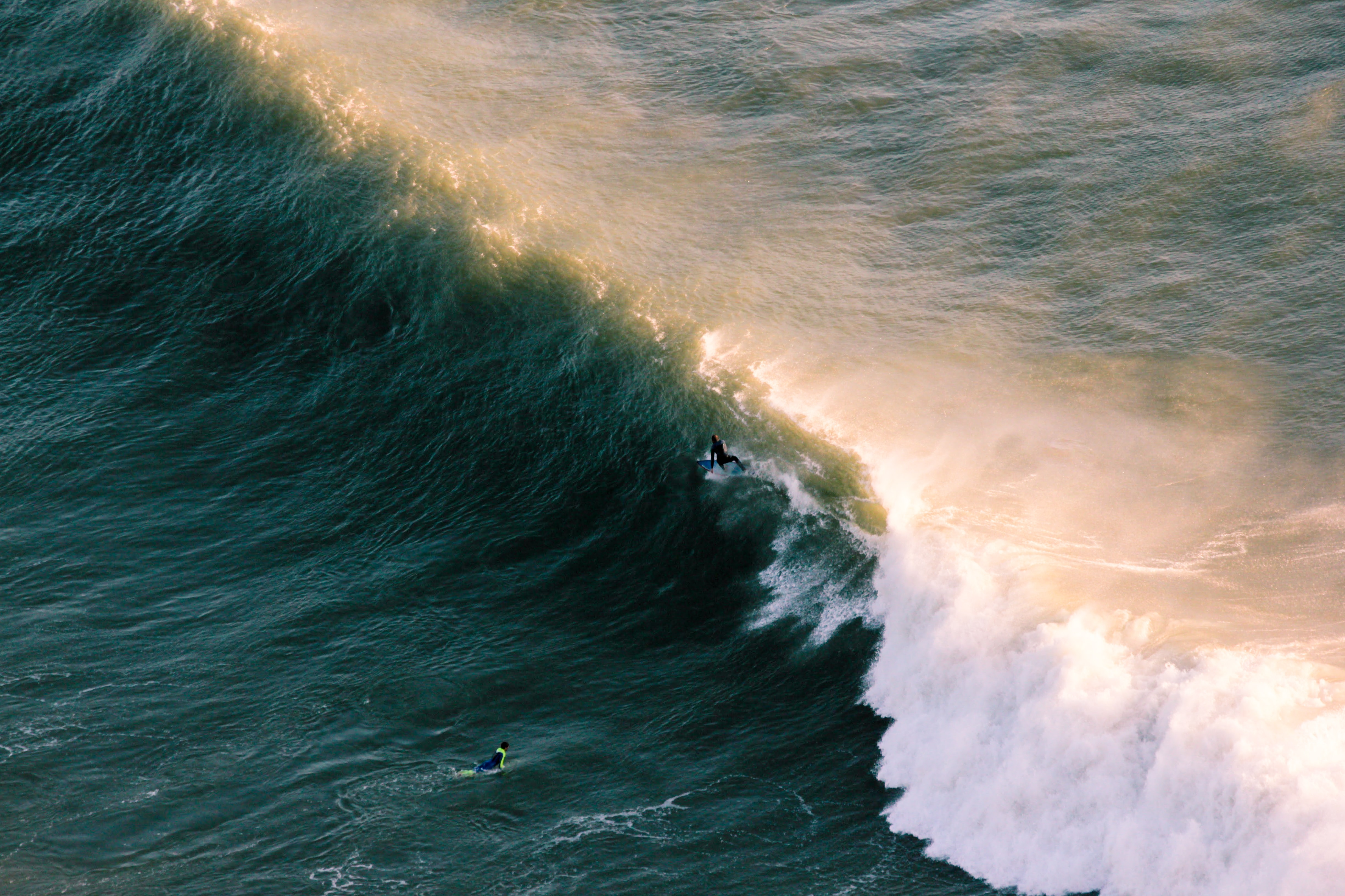 aerial view of wave of water