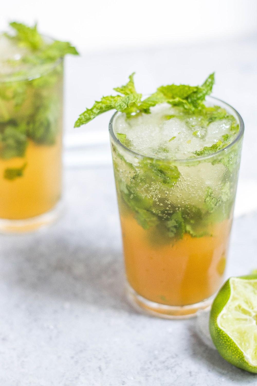 glass full of green tea
