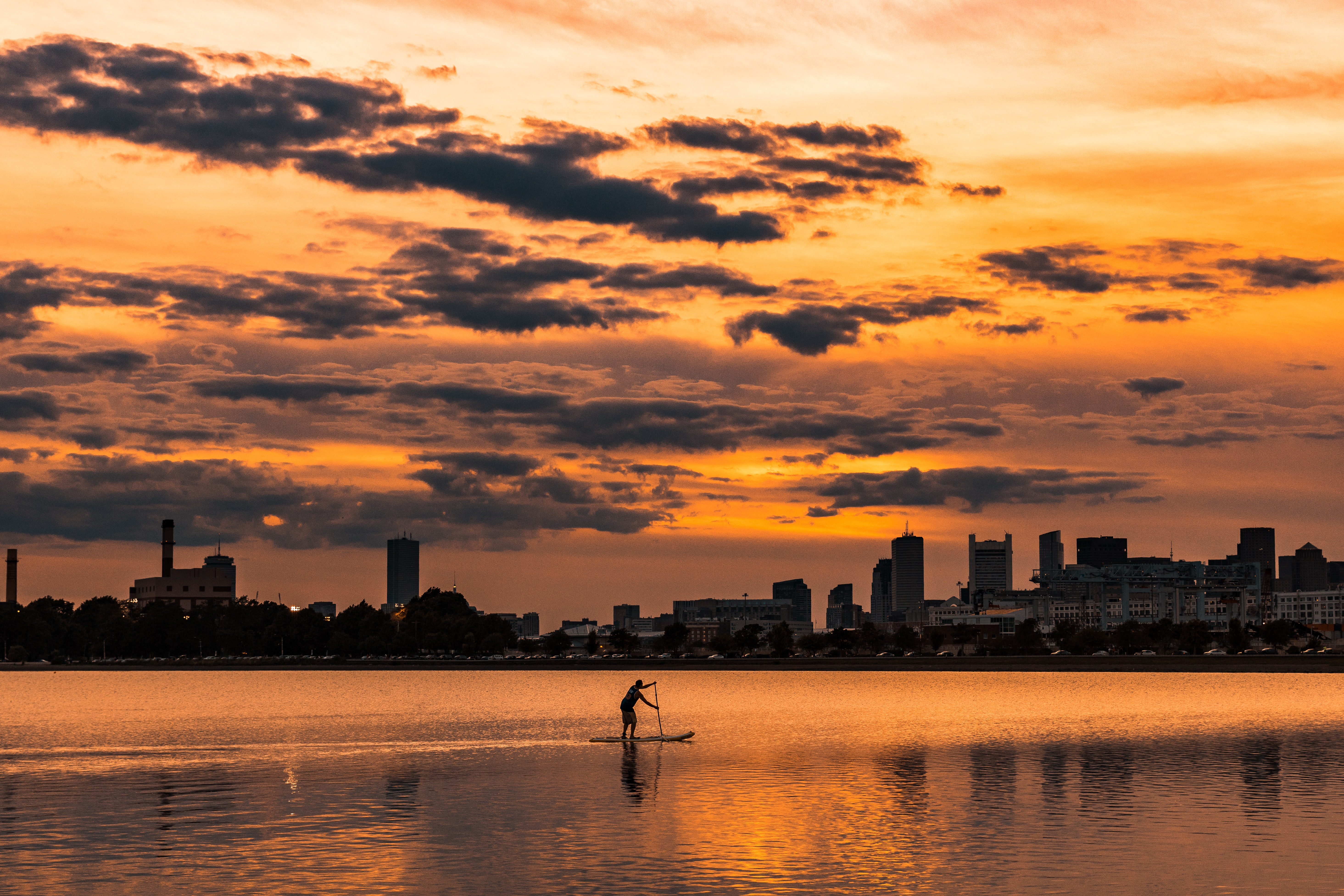 landscape photography of silhouette of man on boat near city buildings