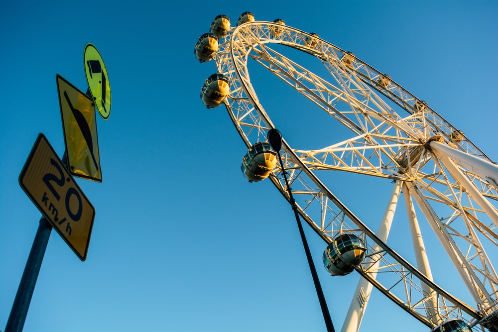 low angle photography of ferris wheel under blue sky during daytime