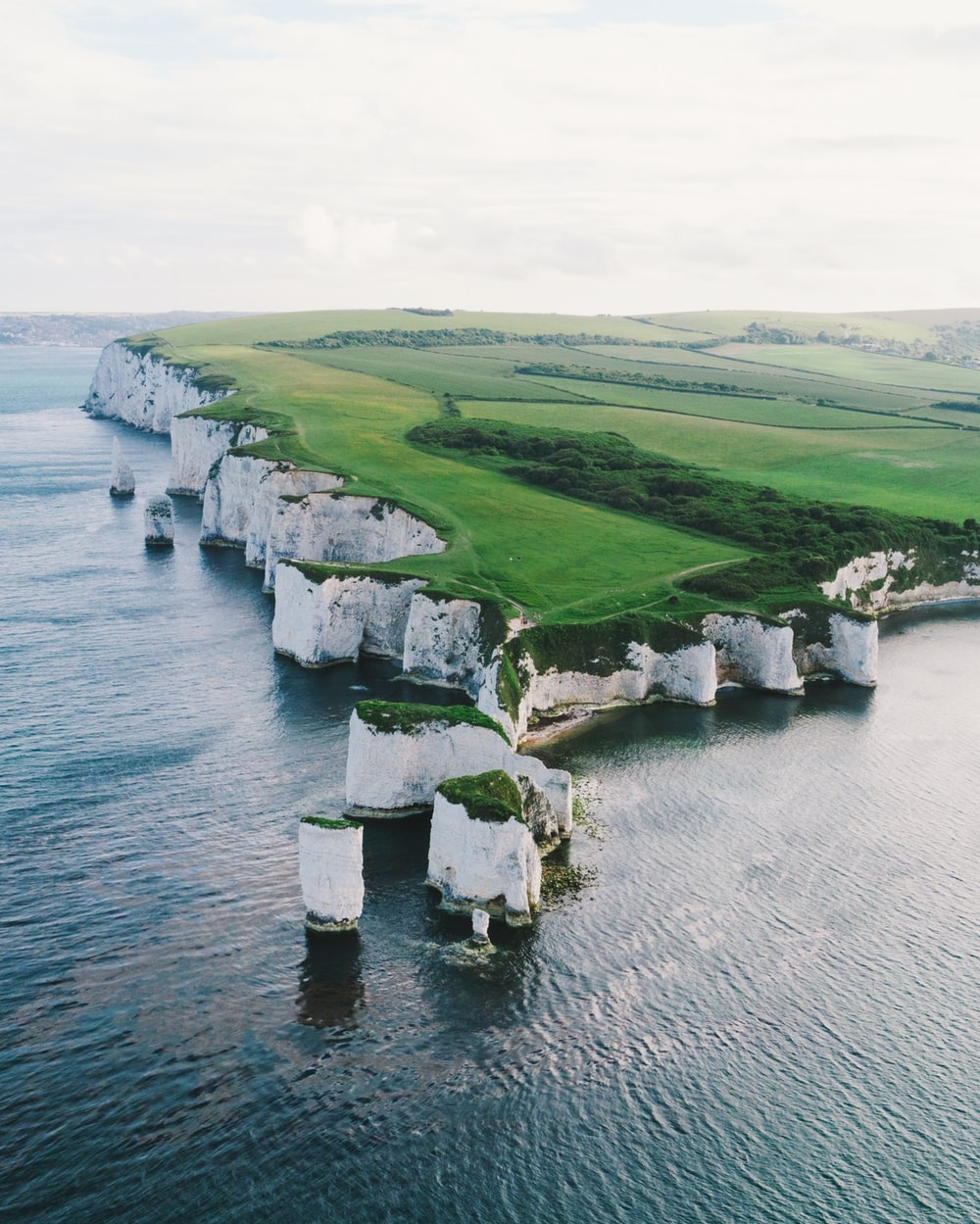 bird's-eye-view photography of land near body of water