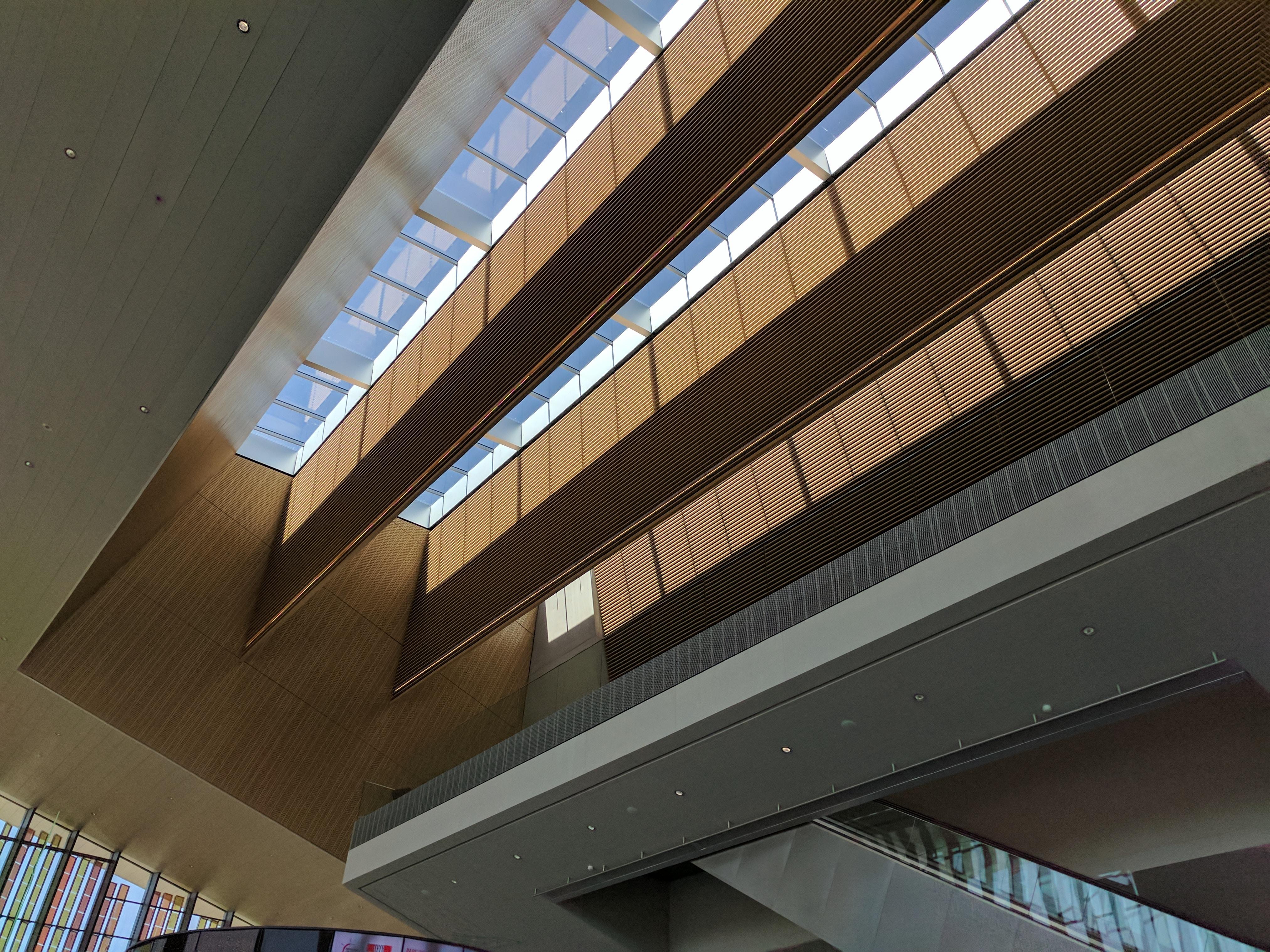 A modern roof in an atrium in Lausanne, Switzerland