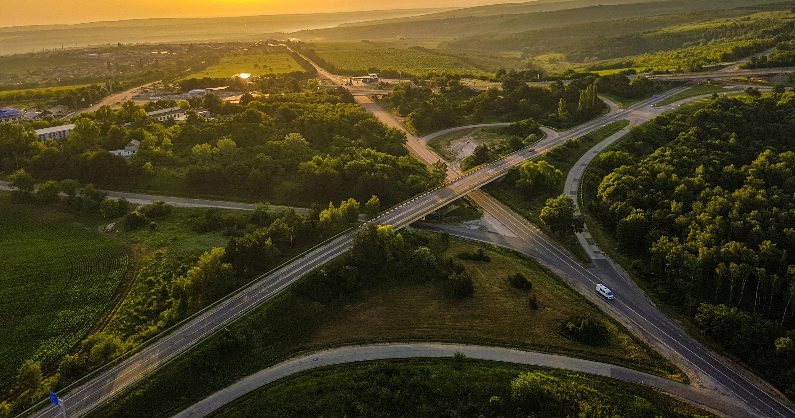bird's-eye view photography of asphalt road in between trees