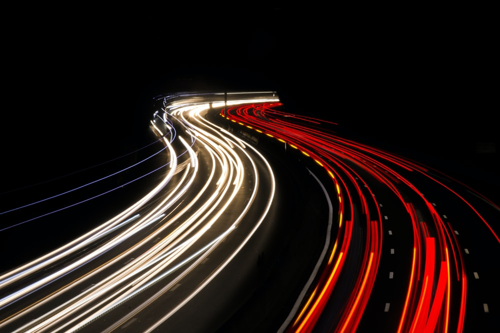 high-angle photography of road at nighttime