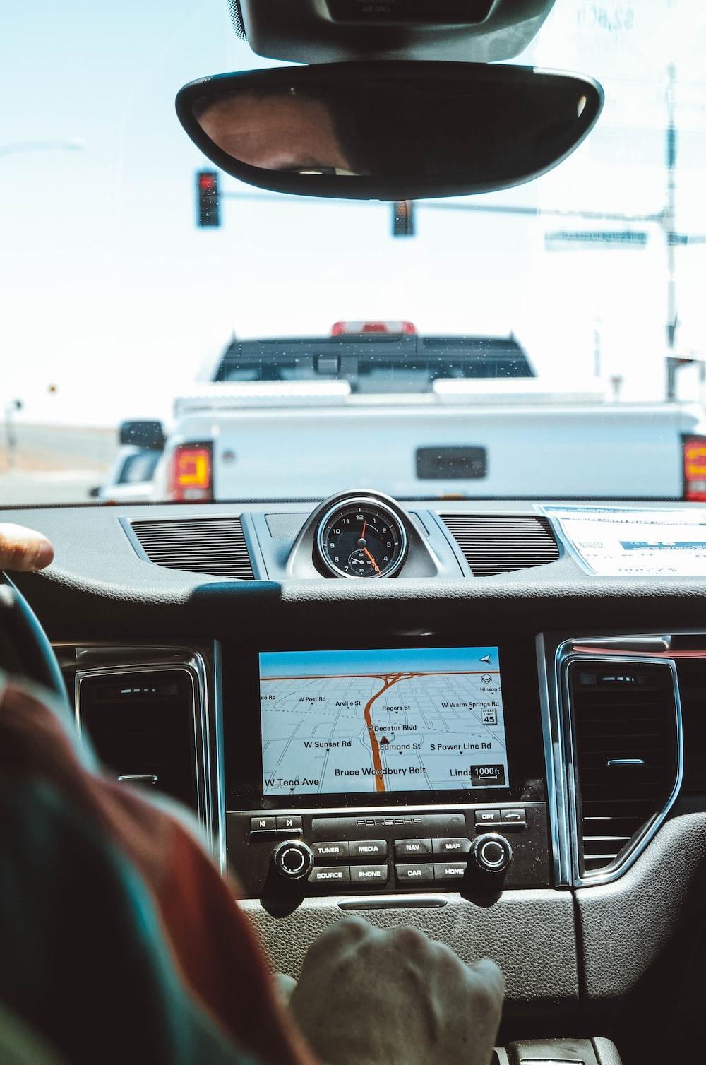 black GPS navigator turned on