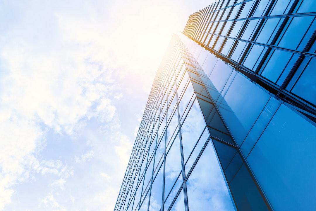 Windows of Skyscraper Office with blue sky