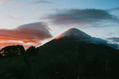 silhouette of mountain during sunrise nicaragua teams background
