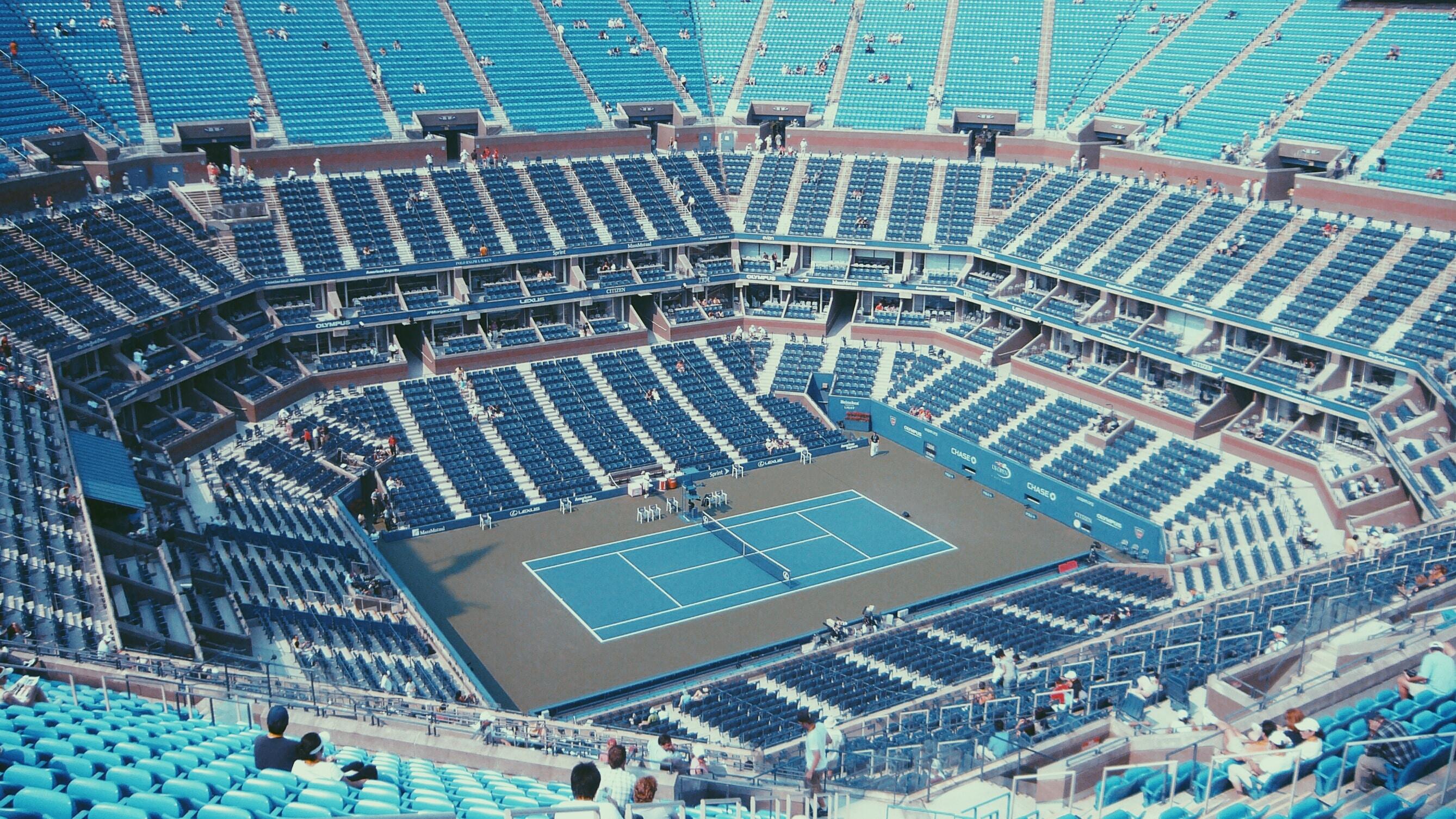 blue and white tennis stadium