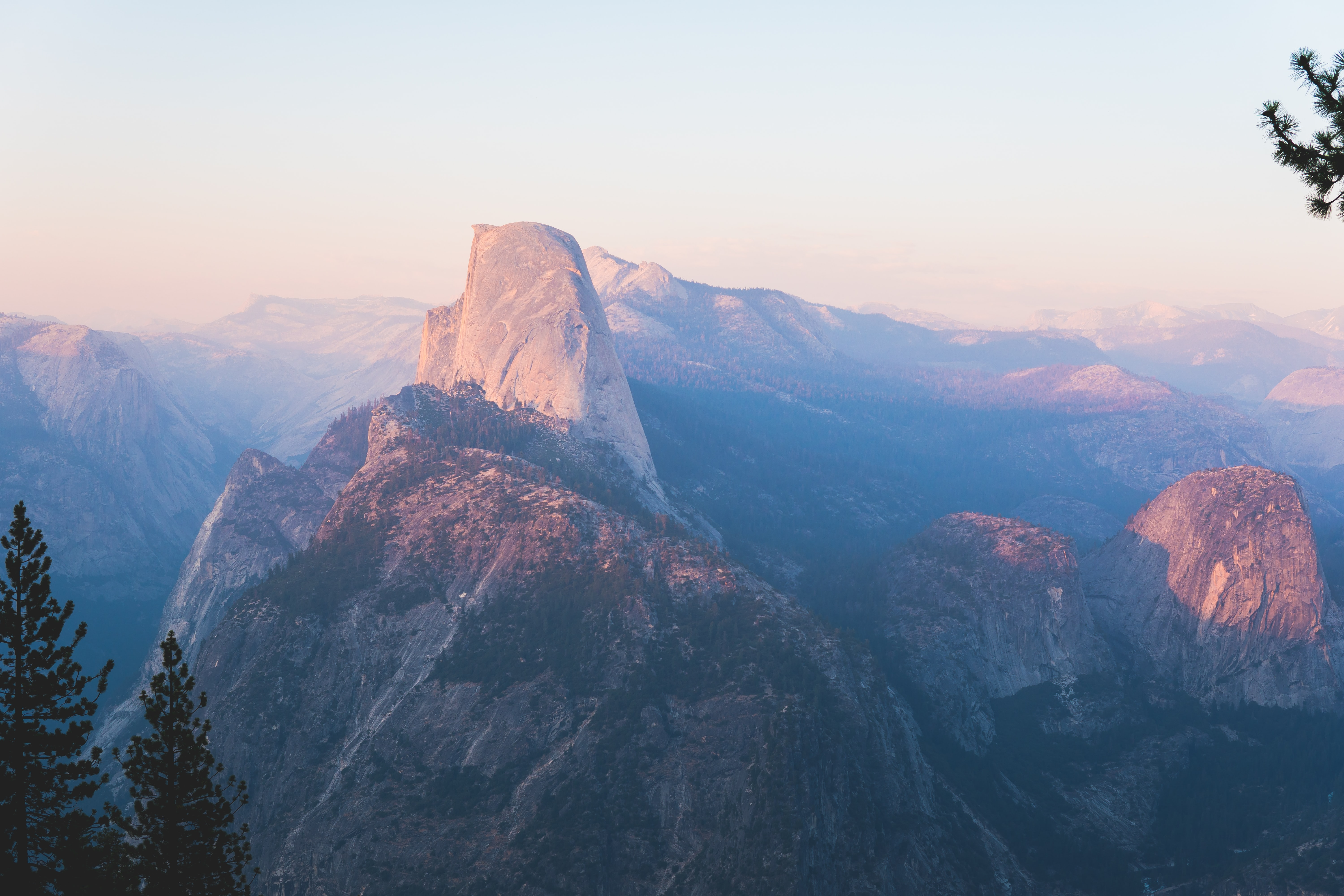 A high view of the granite cliffs in Yosemite Valley