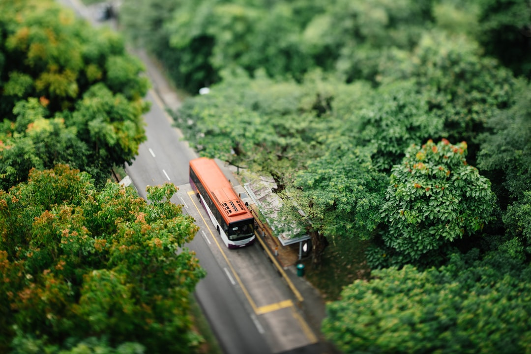 Bus at a stop from above