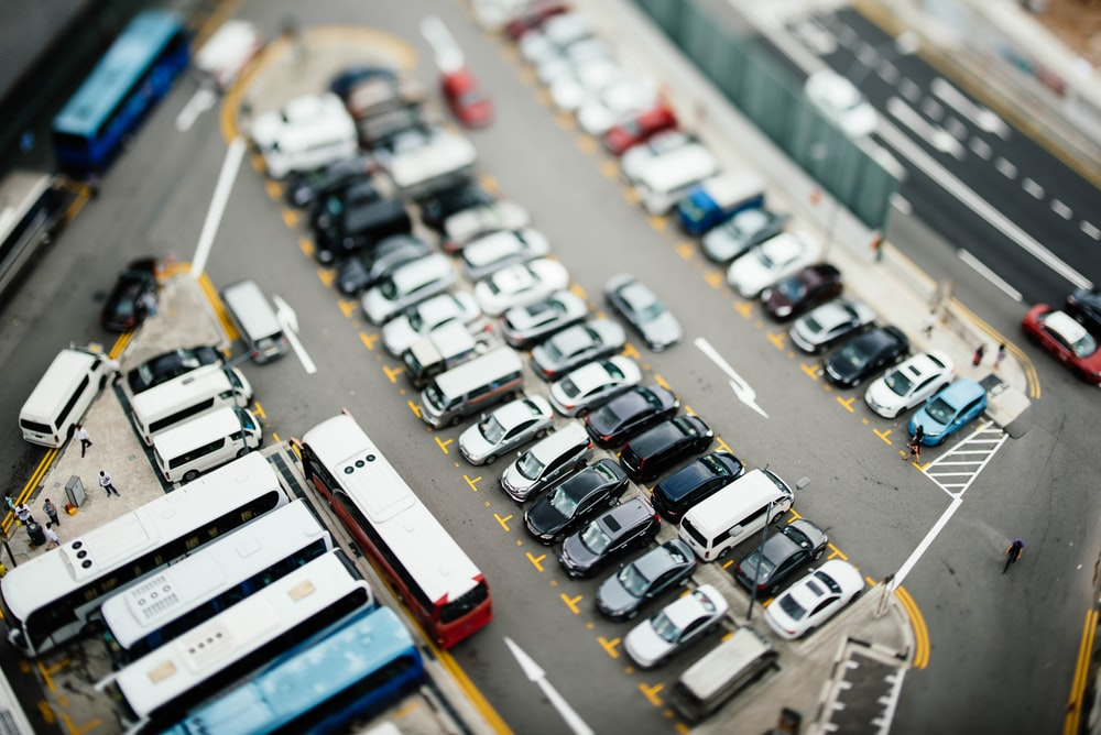 aerial photography of parked vehicles