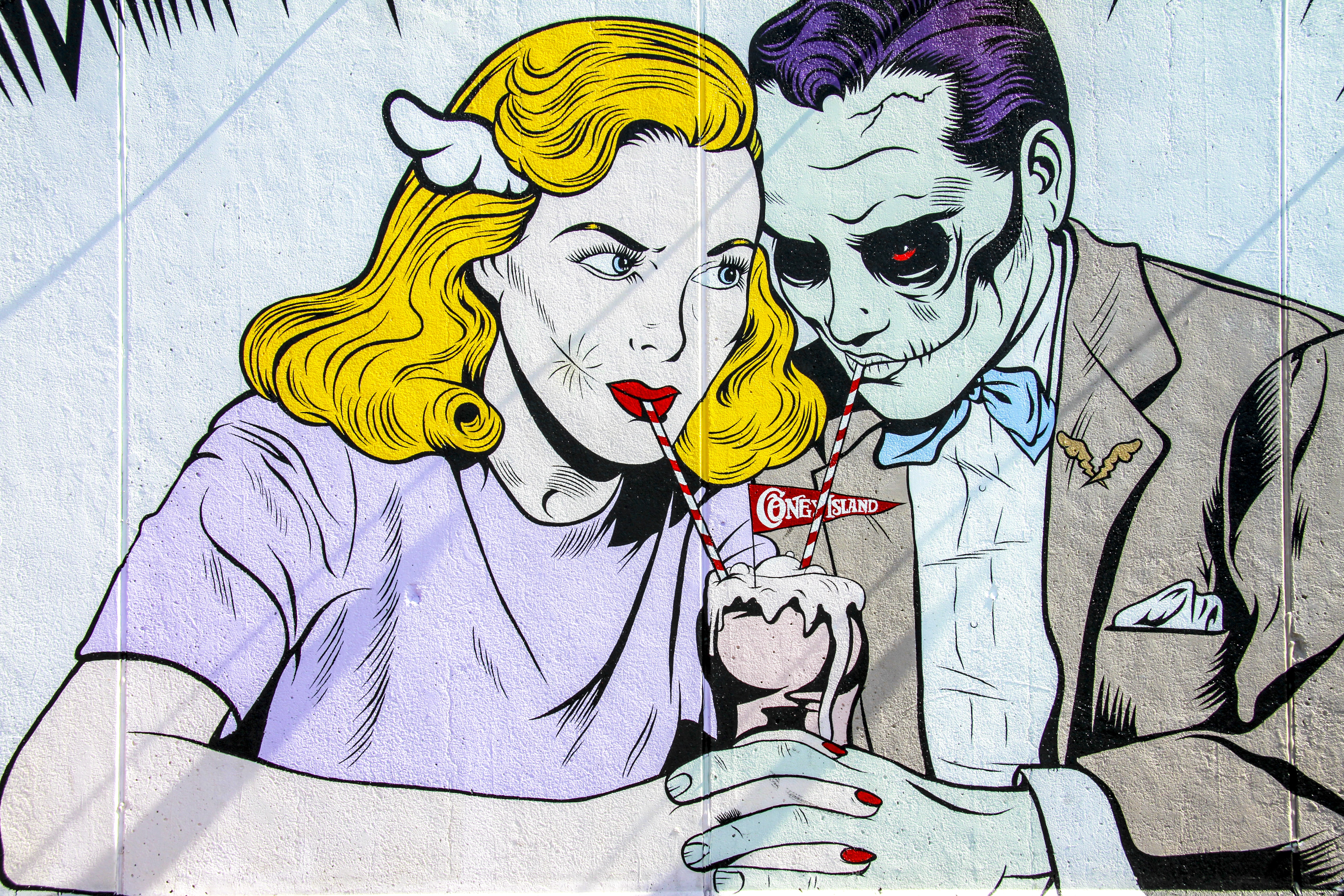 man and woman character drinking photo