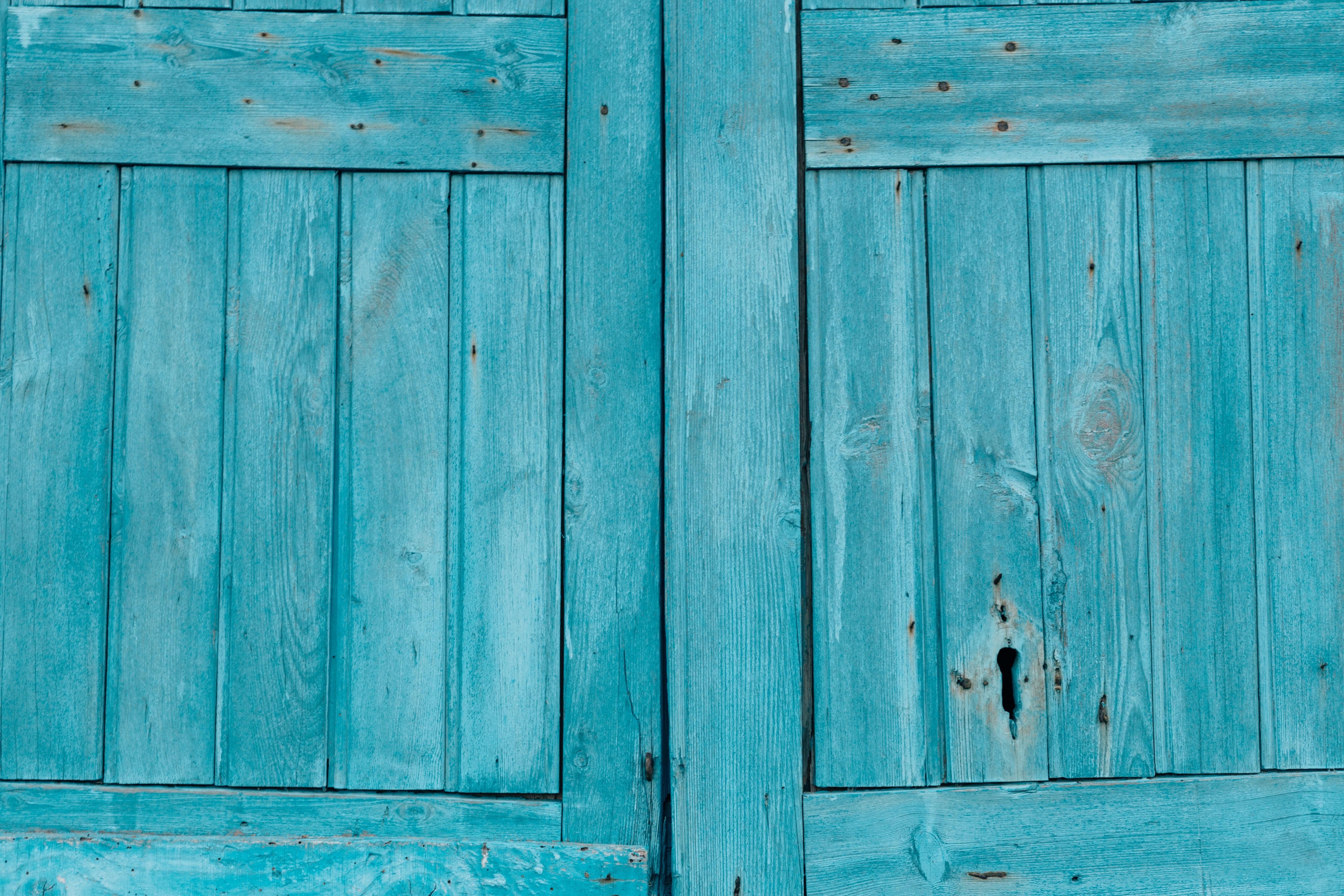 two gray wooden doors