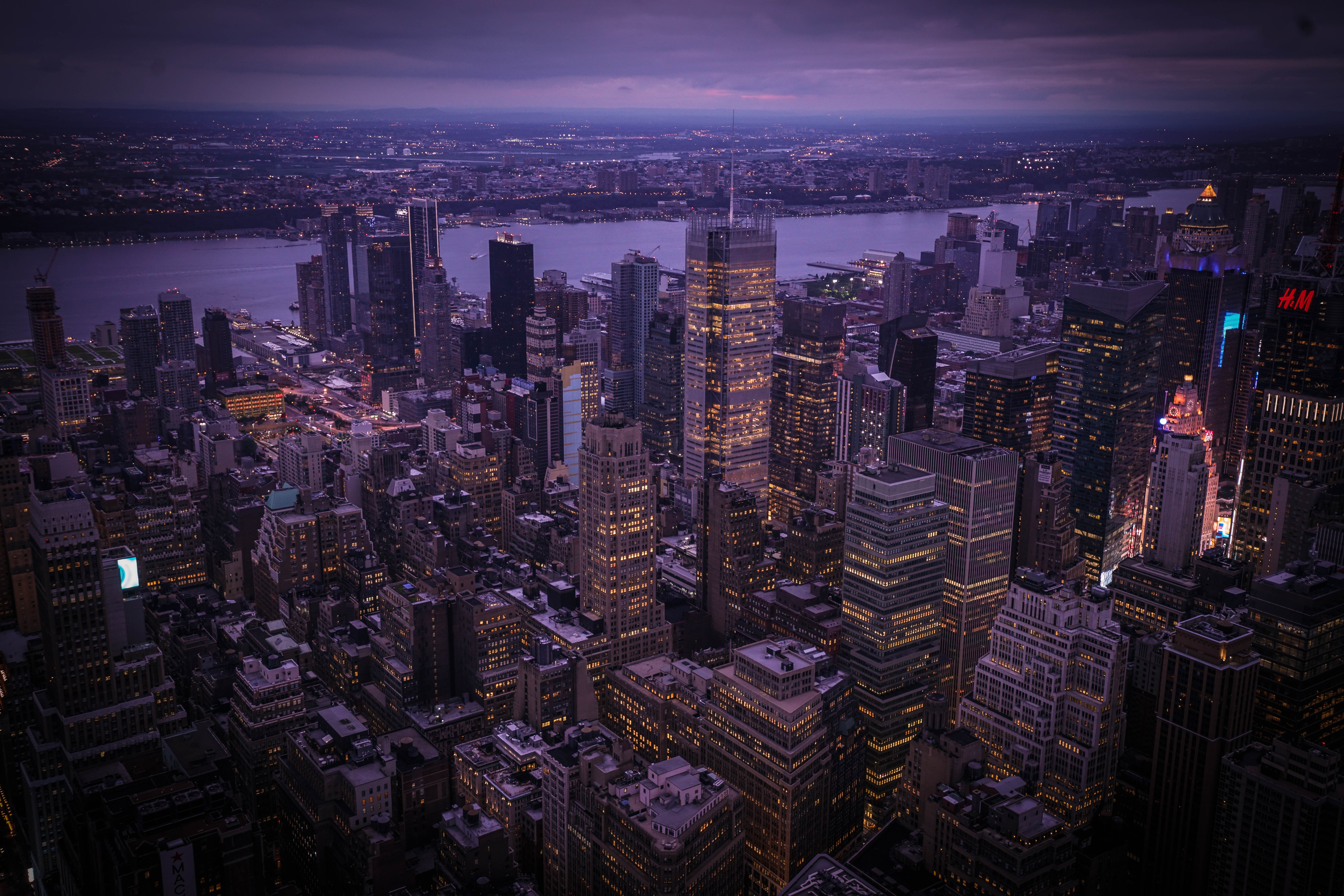aerial photo of New York City during night