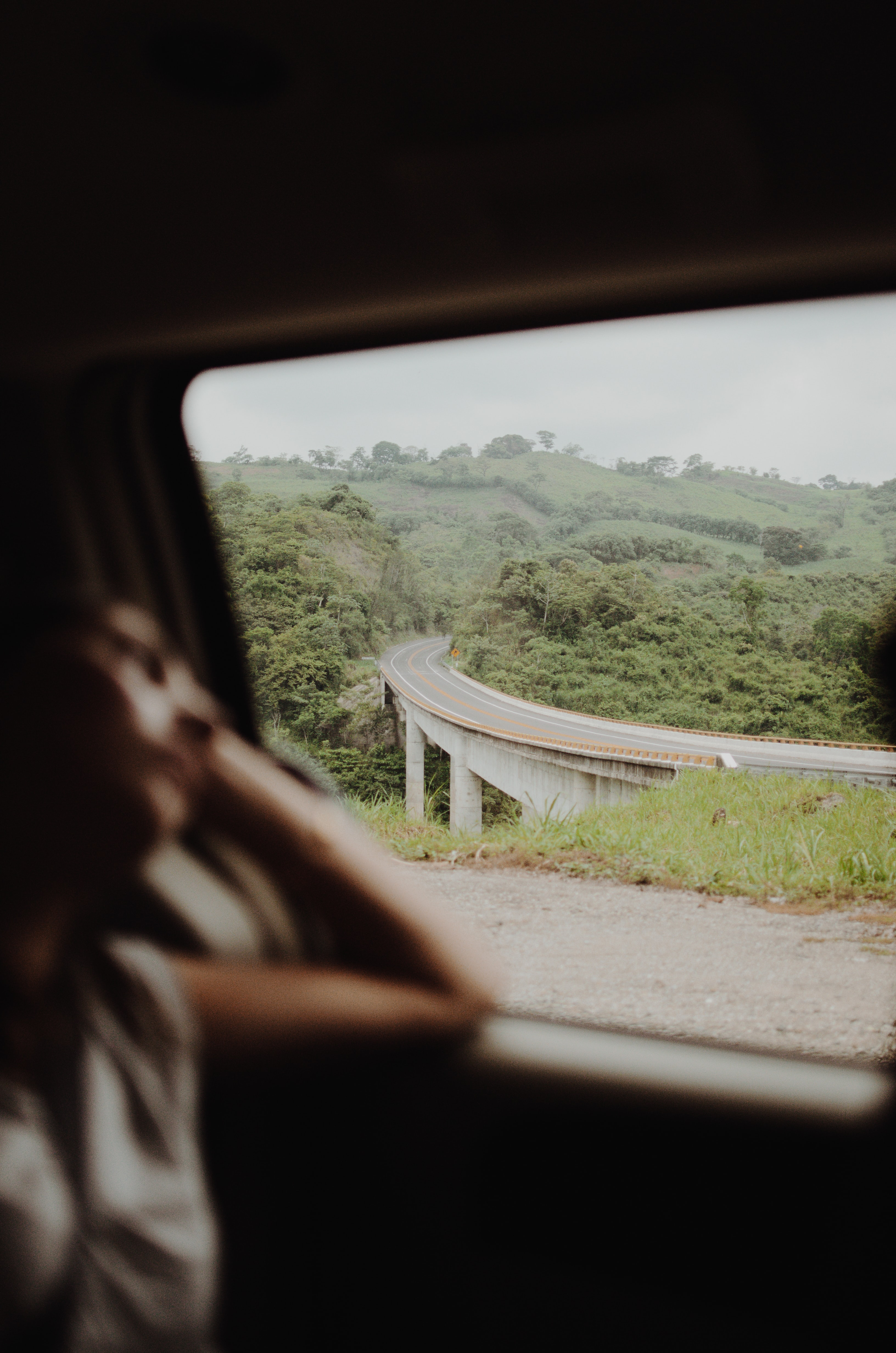 Blurry shot of a person looking out a car window at a countryside