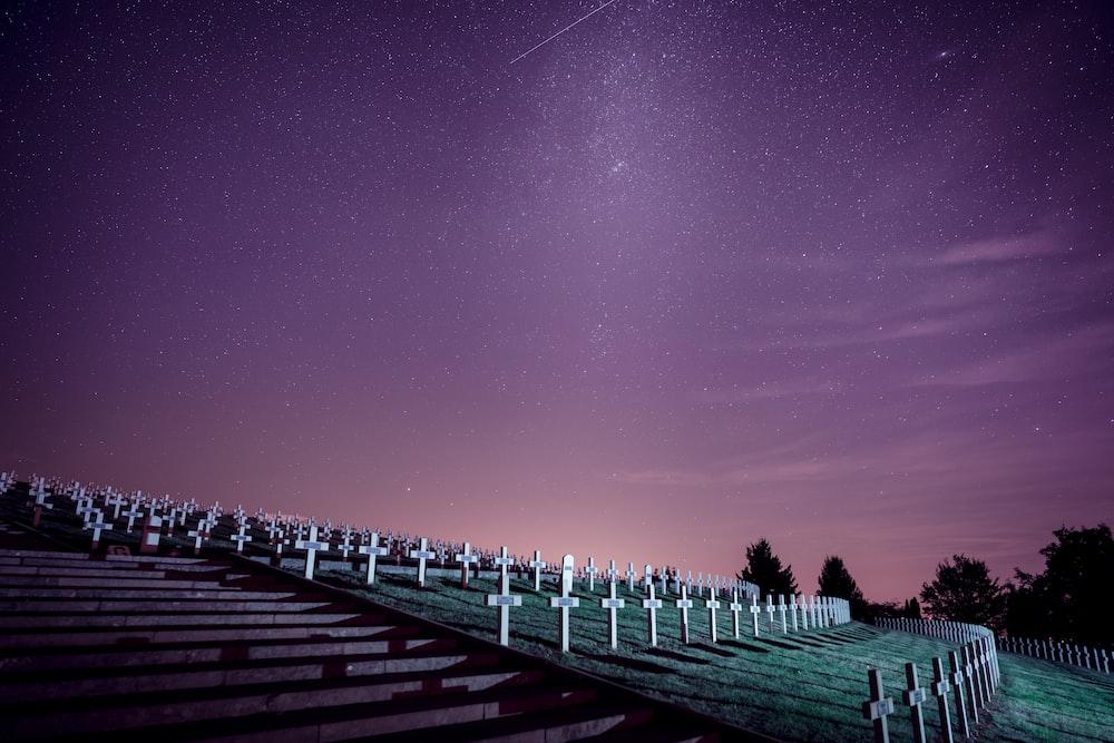 cemetery under starry sky