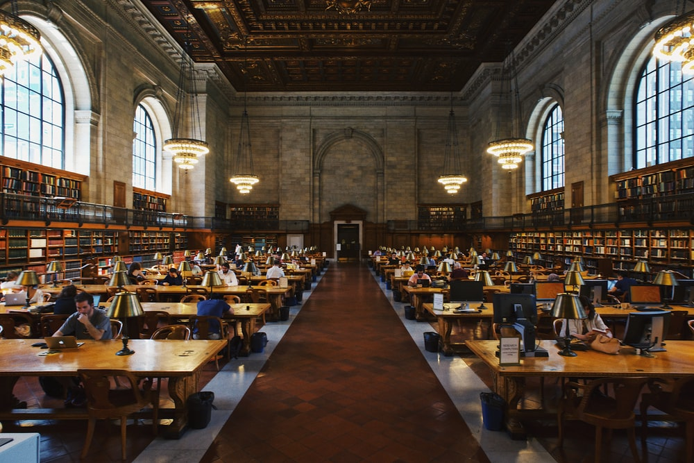 group of people inside the library
