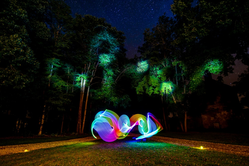 light writing photography in forest