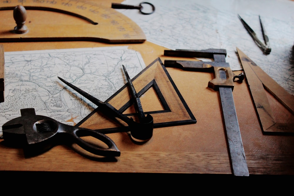 drafting instruments on top of table